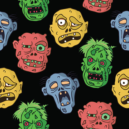 Funny colorful seamless pattern with cartoon halloween zombie faces. Vector illustration. Great print for wrapping paper, fabric, textile, greeting cards.